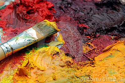 Artists Oil Painting Palette Stock Images - Image: 4520434