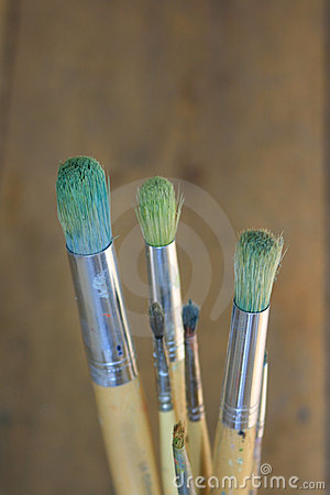 Artists paint brushes close up