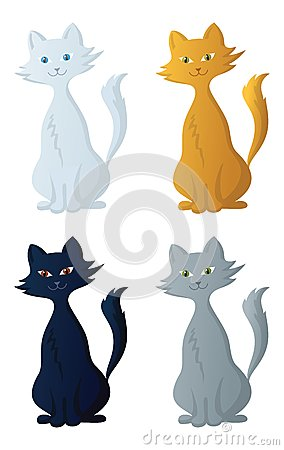 �artoon cat, set