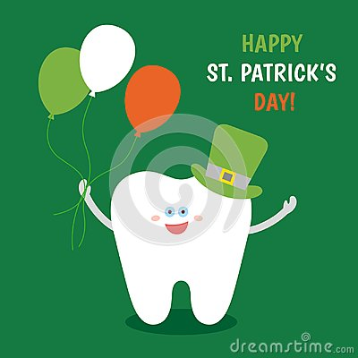 Free Сartoon Tooth In St. Patrick`s Hat With Balloons Colors Of The Irish Flag On Green Background. Stock Image - 112065621