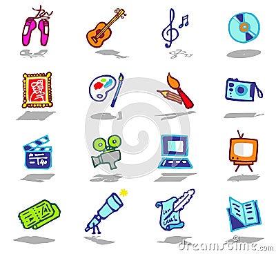 Arts icons set