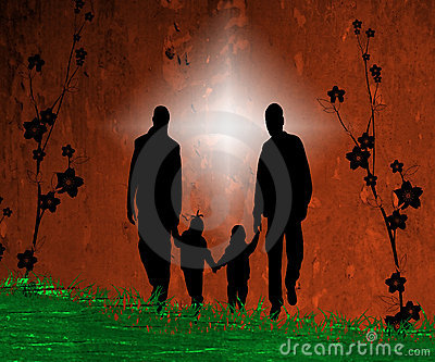 Artsy illustration of family
