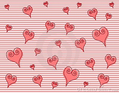 Artsy Pink Swirl Hearts Stripes Background