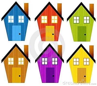 Artsy Rustic Clip Art Houses