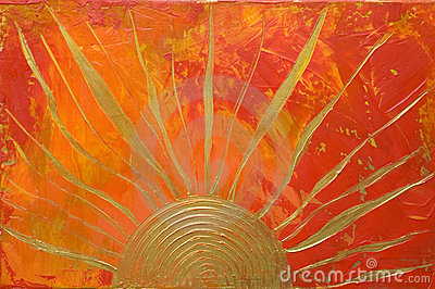 Artwork with golden sun