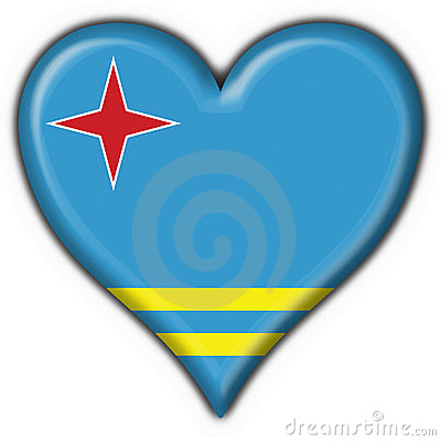 Aruba button flag heart shape