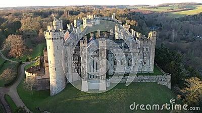 Arundel Castle, Arundel, West Sussex, England, United Kingdom. Bird Eye View IX. Arundel Castle, Arundel, West Sussex, England, United Kingdom. Bird Eye View stock video footage