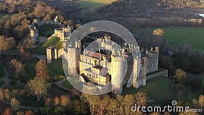 Arundel Castle, Arundel, West Sussex, England, United Kingdom. 4k. Sunset Time III. Arundel Castle, Arundel, West Sussex, England, United Kingdom. 4k Sunset Time stock footage