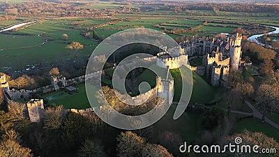 Arundel Castle, Arundel, West Sussex, England, United Kingdom. Sunset Light  II. Arundel Castle, Arundel, West Sussex, England, United Kingdom. Sunset light stock video footage