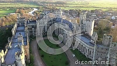 Arundel Castle, Arundel, West Sussex, England, United Kingdom. Inner Courtyard II. Arundel Castle, Arundel, West Sussex, England, United Kingdom. Bird Eye View stock video footage