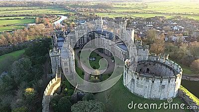 Arundel Castle, Arundel, West Sussex, England, United Kingdom. Inner Courtyard IV. Arundel Castle, Arundel, West Sussex, England, United Kingdom. Bird Eye View stock footage