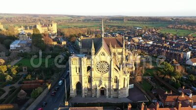 Arundel Cathedral Roman Catholic Cathedral Church of The Lady and St Philip Howard West Sussex UK stock video