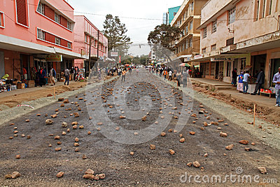 Arusha Street Covered in Rocks Editorial Stock Image