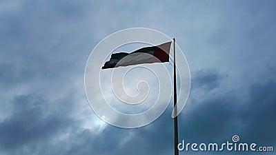 As bandeiras de Emiratos Árabes Unidos que acenam na cidade de Abu Dhabi - nuvens e luz do sol filme