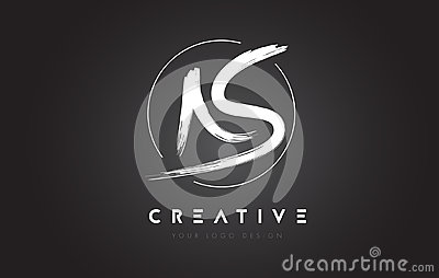 AS Brush Letter Logo Design. Artistic Handwritten Letters Logo C Vector Illustration