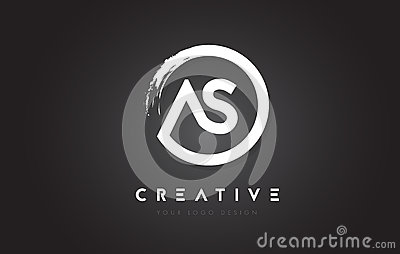 AS Circular Letter Logo with Circle Brush Design and Black Background. Vector Illustration