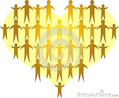 As famílias dão forma a um Heart/ai dourado