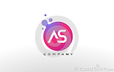 AS Letter Dots Logo Design with Creative Trendy Bubbles. Stock Photo