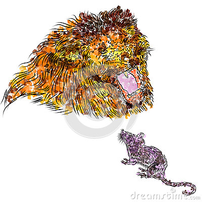 Free As Loud As A Lion, As Quiet As A Mouse. Opposites Attract! Stock Image - 56645921