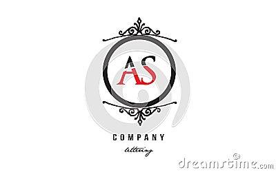 AS A S red white black decorative monogram alphabet letter logo combination icon design Vector Illustration