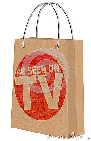 As seen on TV on Kraft shopping bag Stock Photo