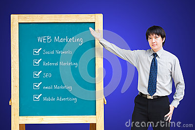 Asain business man presenting WEB Marketing plan