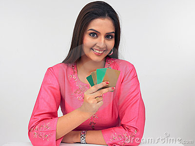 Asain women with credit cards