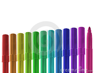 Ascending row of colored markers