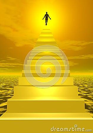 Ascension to heaven - 3D render