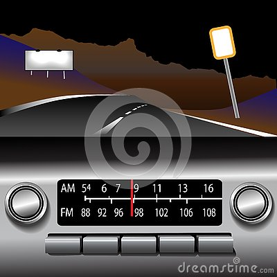 Ashboard Radio AM FM Highway Drive Background