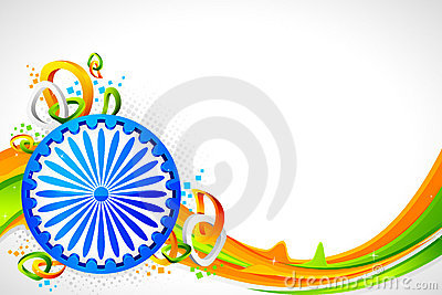 Ashok Wheel on Tricolor Background