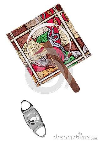 Ashtray and cigar Stock Photo