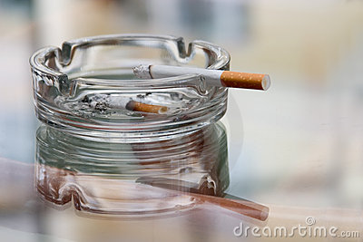 Ashtray with cigarette