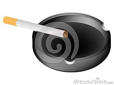 Ashtray and cigarette against white