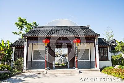 Asia China, Wuqing, Tianjin, Green Expo,Garden architecture, Courtyard door Editorial Stock Photo