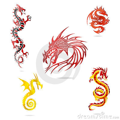 Asia colored dragons sign set isolated
