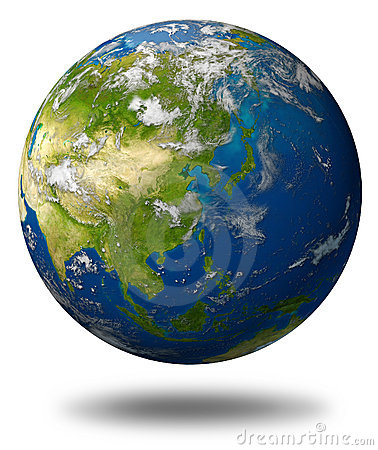 Asia earth globe