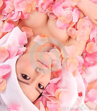 Asia girl in flower