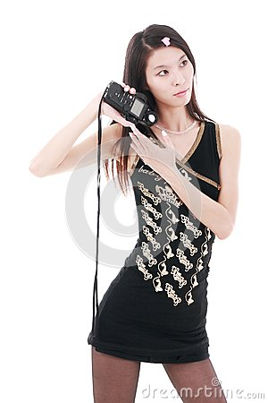 Asia girl holding exposure meter