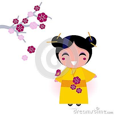 Asia girl in yellow kimono