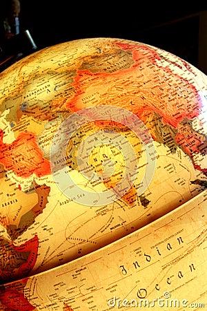 Asia on the luminous globe
