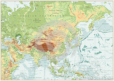 Asia Map With Rivers.Asia Physical Map With Rivers Lakes And Elevations Cartoon Vector