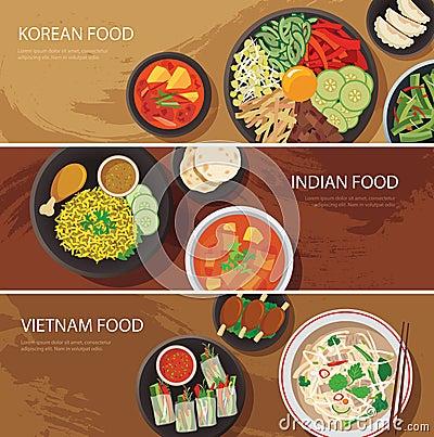 Free Asia Street Food Web Banner , Korean Food , Indian Food , Vietna Royalty Free Stock Images - 55908849