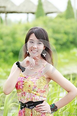 Asia summer girl outdoor