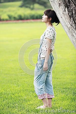 Asia summer girl thinking
