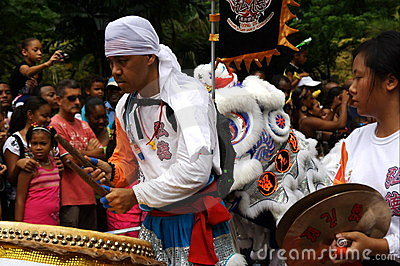 Asian actors with drum. Carnival. Editorial Stock Photo