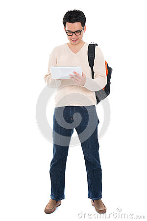 Asian adult student using tablet pc
