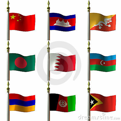 Free Asian And Middle Eastern Flags Royalty Free Stock Photography - 2032007