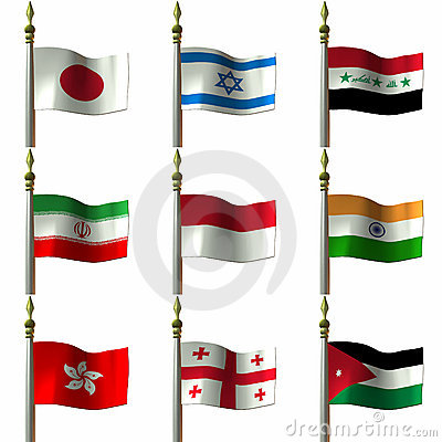 Free Asian And Middle Eastern Flags Royalty Free Stock Photo - 2032015