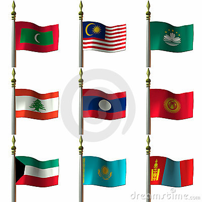 Free Asian And Middle Eastern Flags Royalty Free Stock Photo - 2032035